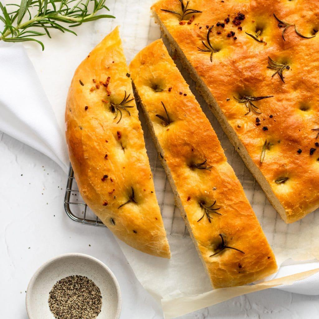 Breadmaker focaccia with rosemary