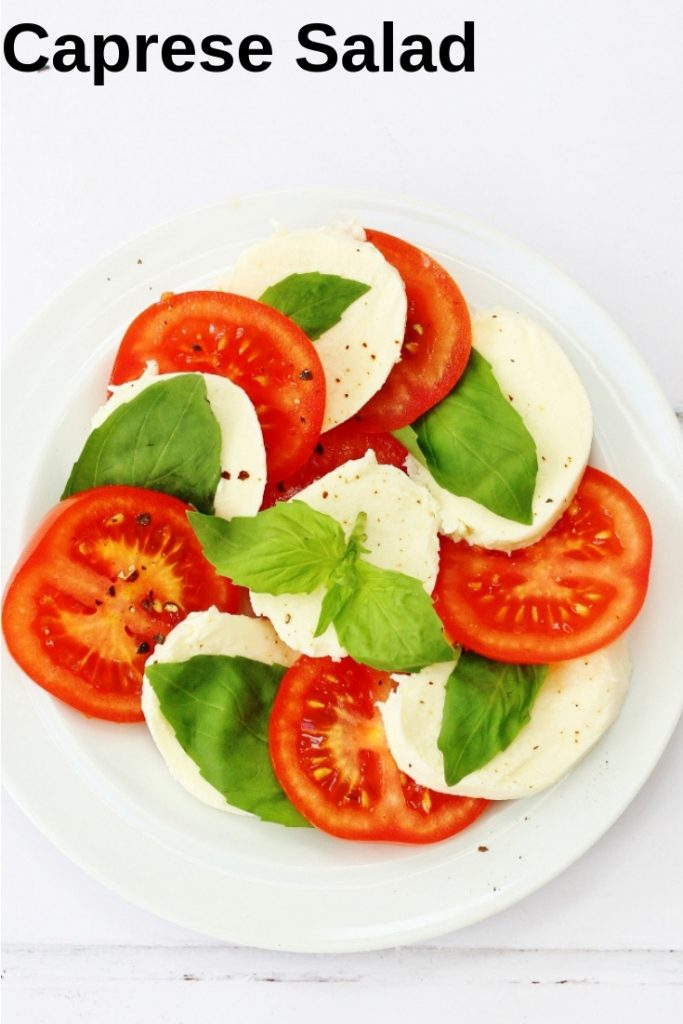 Easy caprese salad pin image