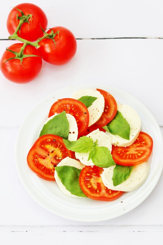 Caprese salad with more tomatoes