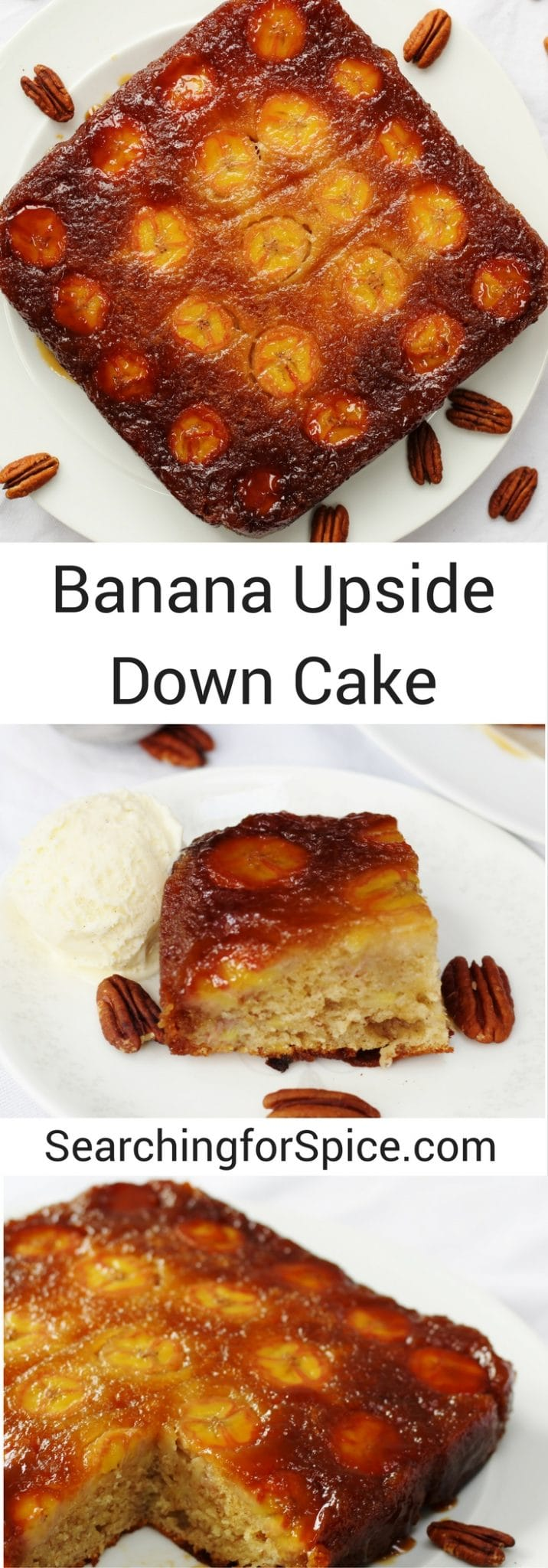 Caramellly bananan upside down cake. Perfect served with cream or ice cream