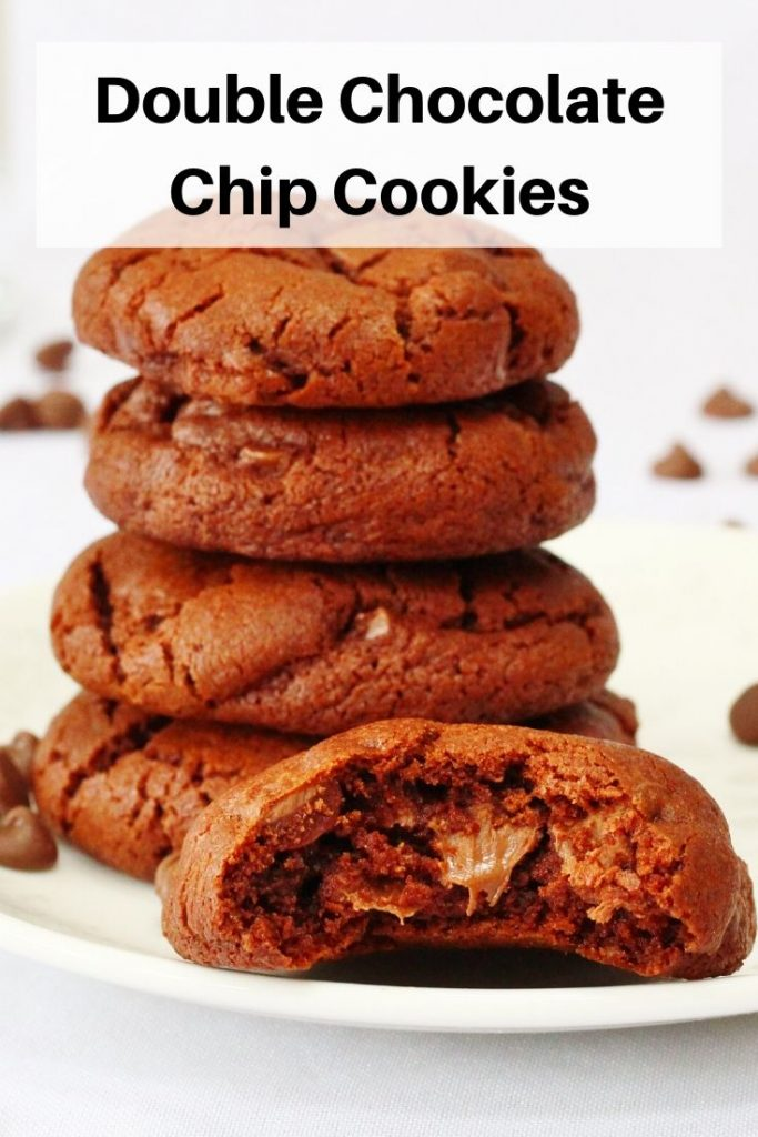 double chocolate chip cookies pin image