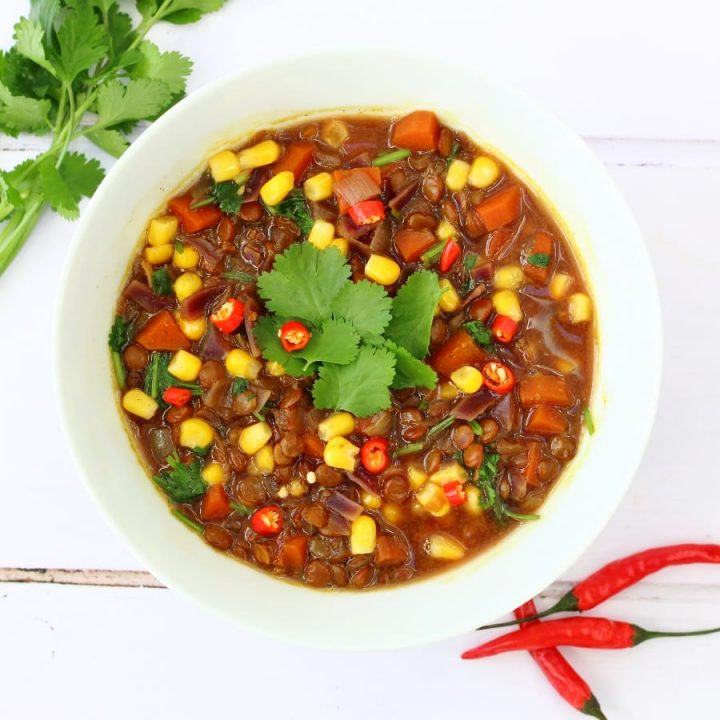 Green lentil and coriander soup