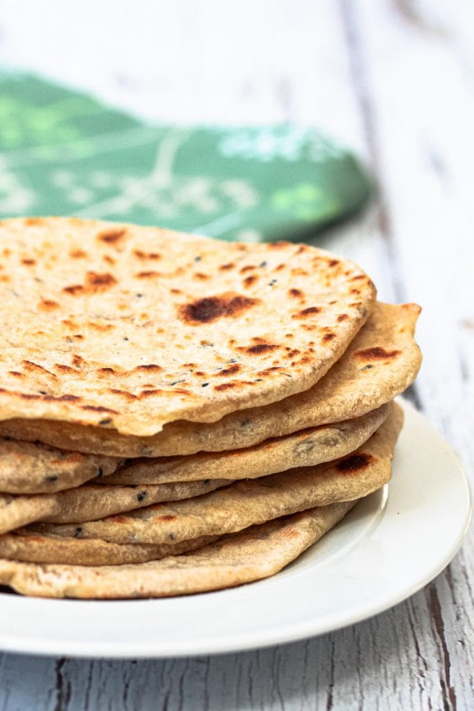 stack of nigella seed flatbreads