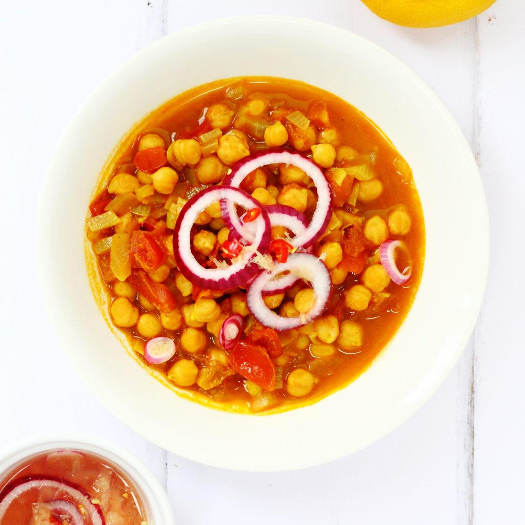 Spicy chickpeas in a bowl