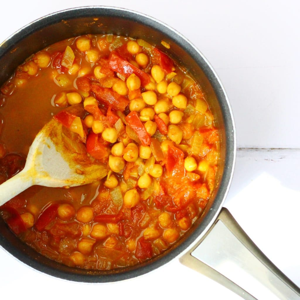 Spicy chickpeas in a pan, known as sour chickpeas and katte chhole