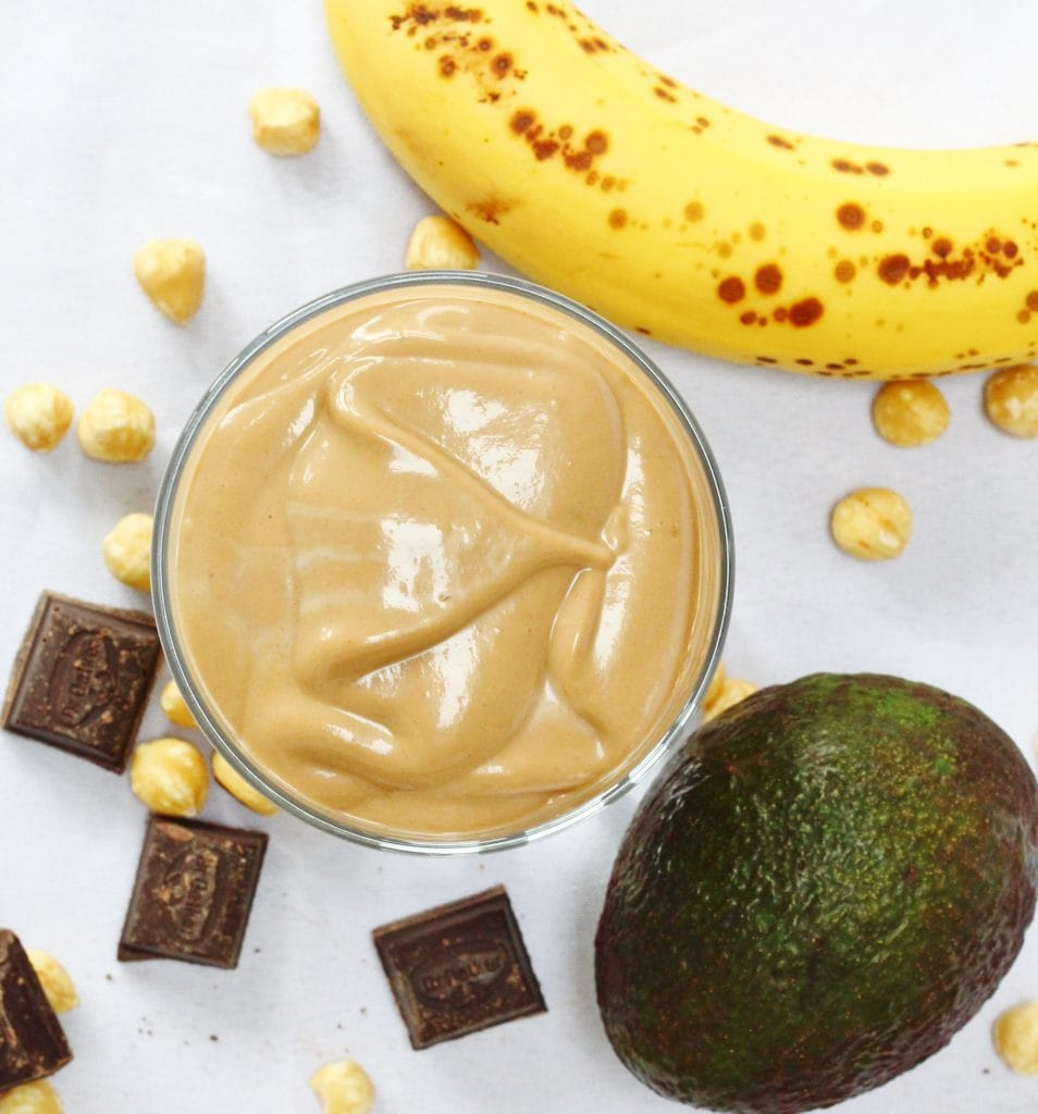 Banana avocado and Nutella smoothie from above