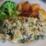 Creamy mushroom and parsley sauce with chicken