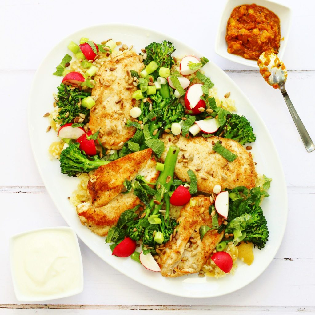 Jamie Oliver S Chicken Broccoli And Bulgur Wheat Salad Searching For Spice