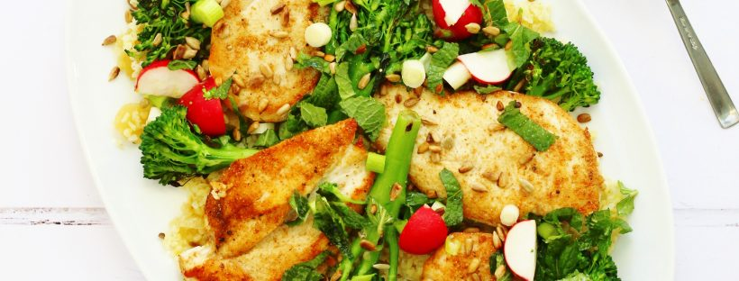 Jamie Oliver's chicken broccoli and bulgur wheat salad