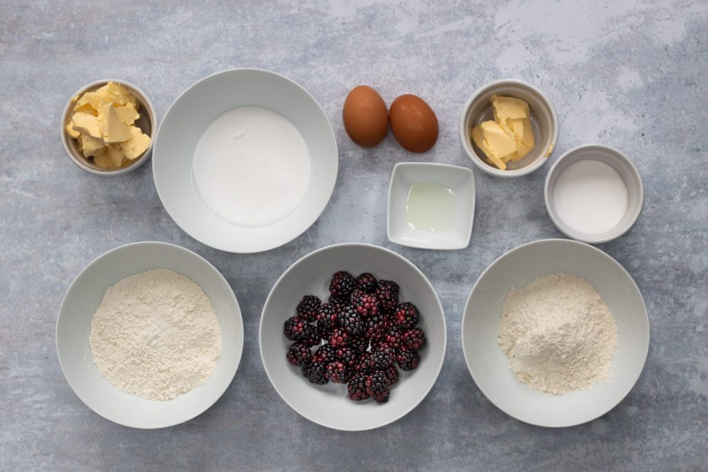 Ingredients for blackberry crumble cake