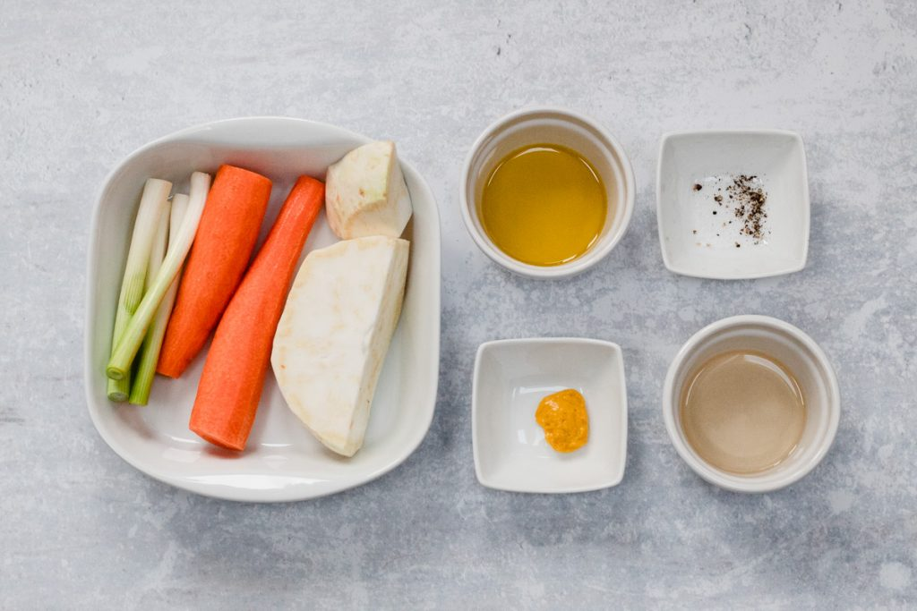 Ingredients in carrot and celeriac salad