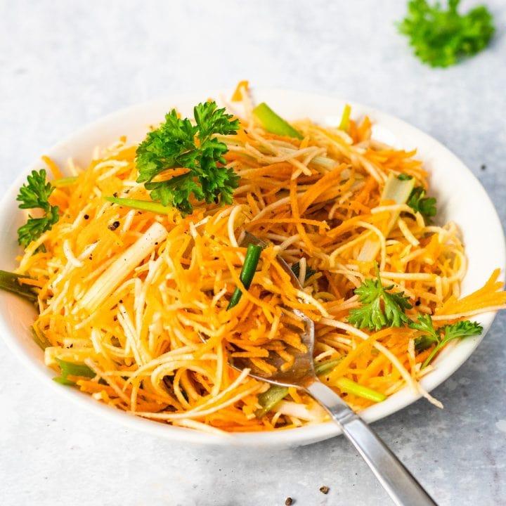 bowl of carrot and celeriac salad