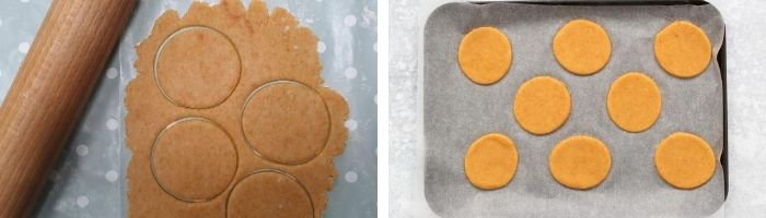 process shot for cheese and paprika biscuits. The dough rolled out and then on a baking tray
