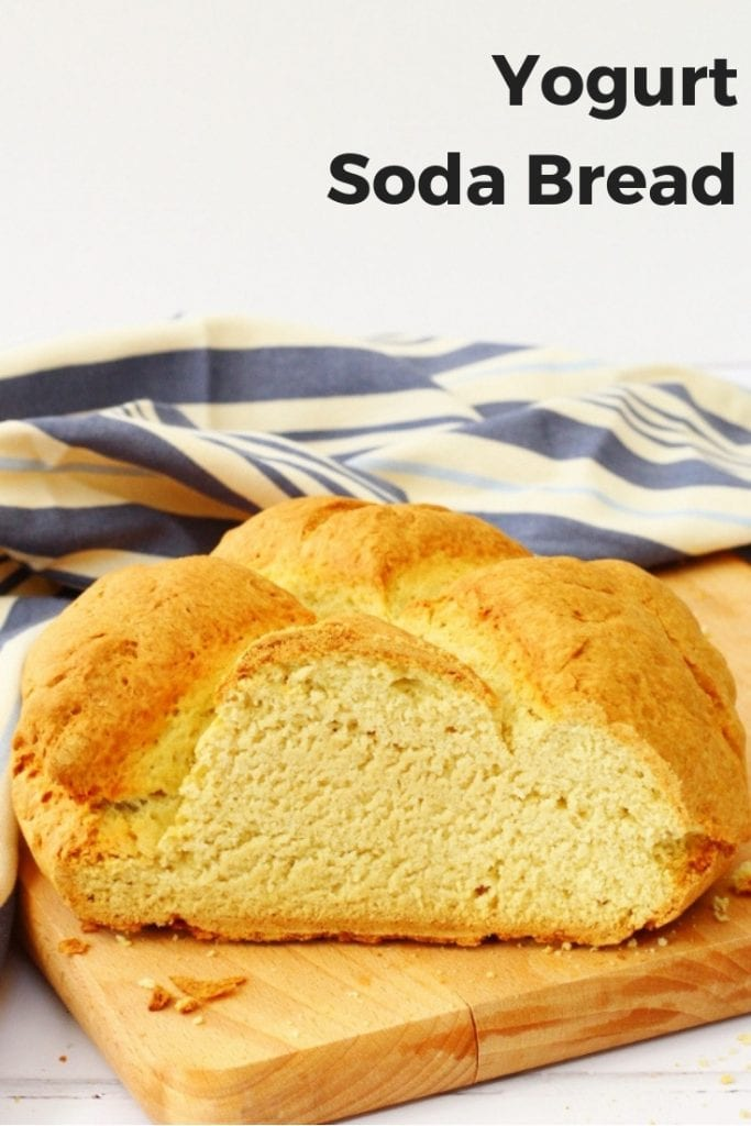 This soda bread with yogurt is a great quick bread to serve with homemade soups and stews.  It takes less than an hour to make this bread so is ideal for busy weeknights. #homemadebread #quickbread #sodabread