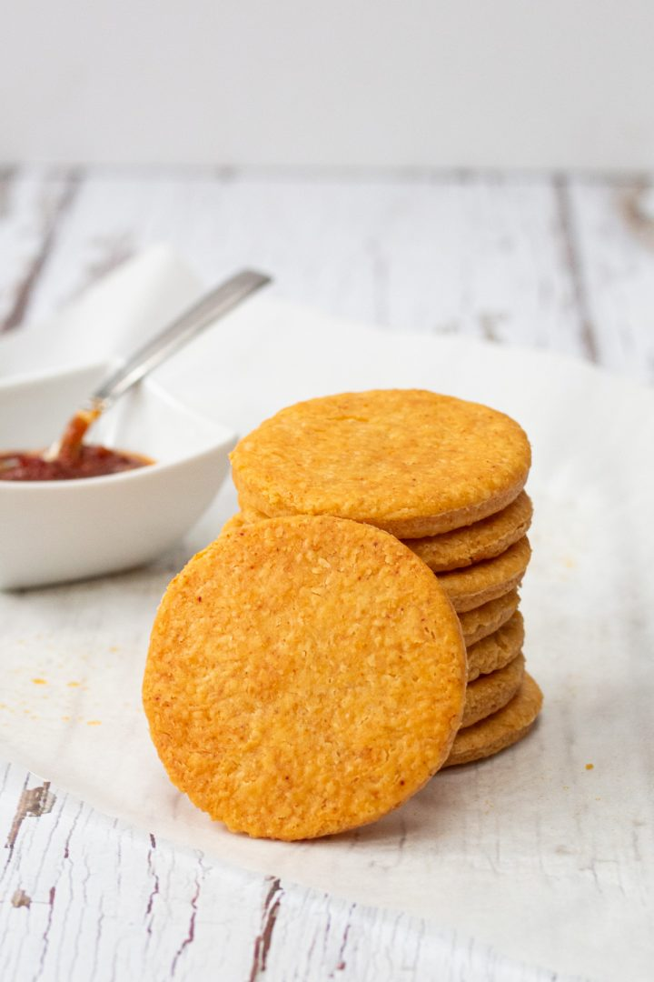 stack of cheesy paprika biscuits