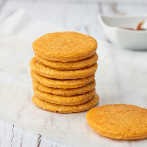 stack of cheese and paprika biscuits
