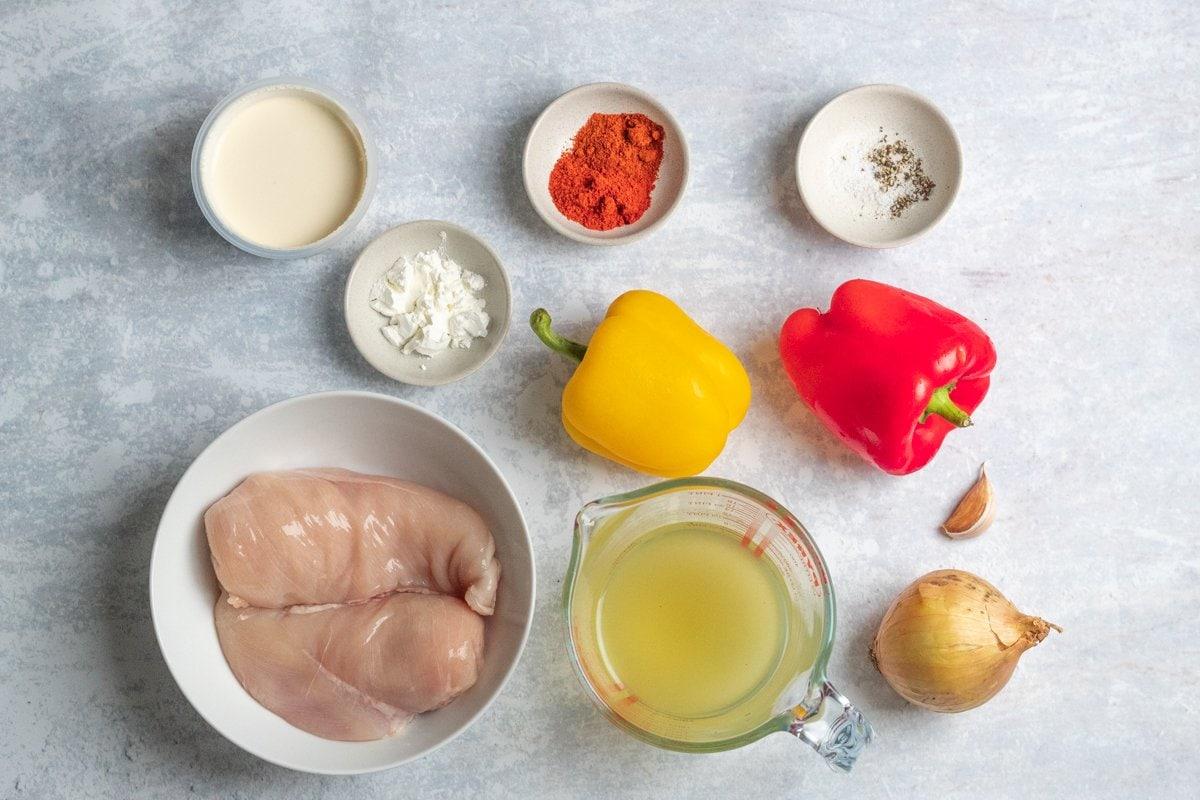 Ingredients for chicken paprikash sauce