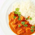 Chicken makhani or butter chicken with rice