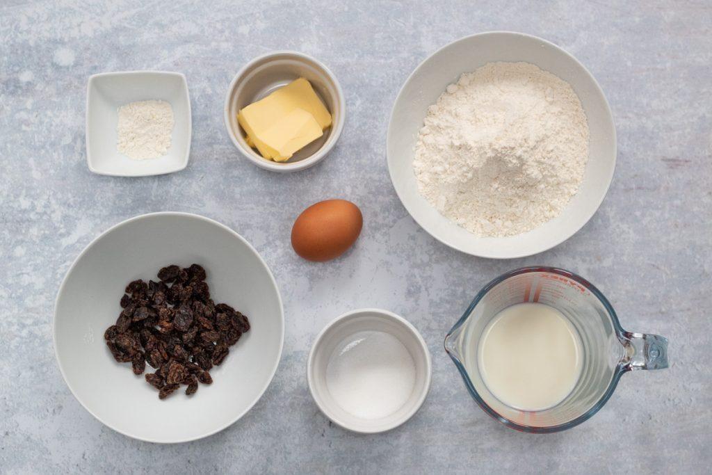 Ingredients for fruit scones