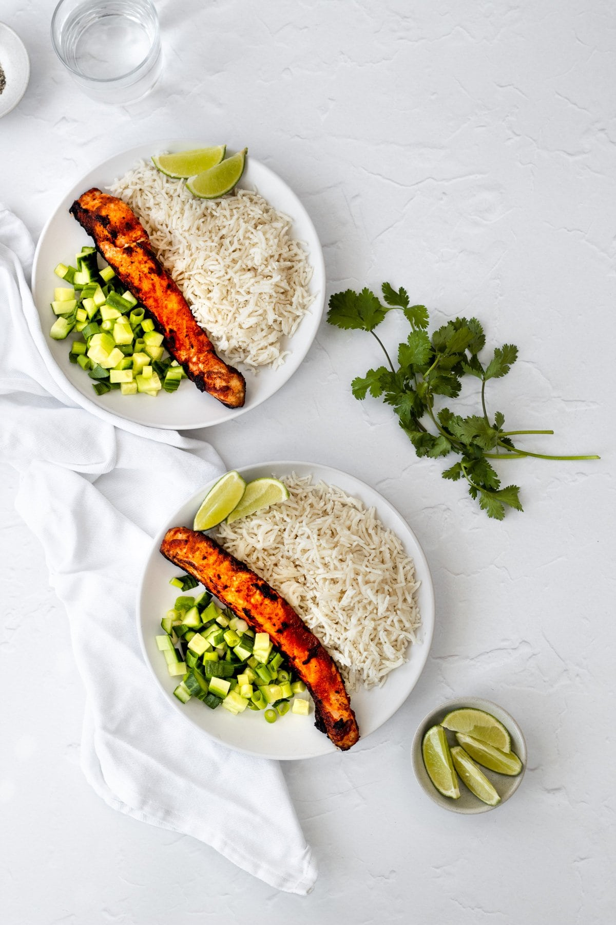 flatlay of ketchup marinated salmon with rice