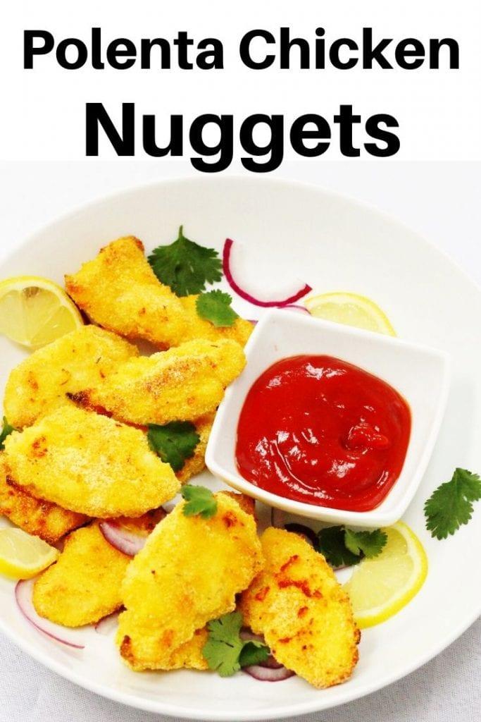 Polenta coated chicken nuggets