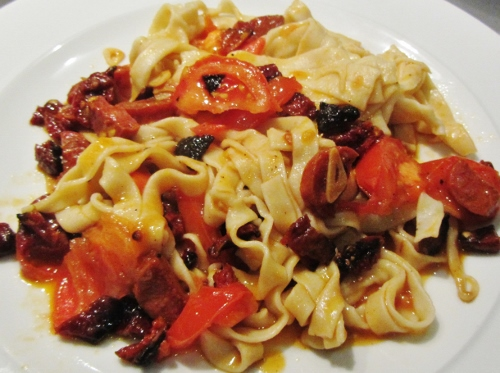 Tagliatelle with sundried tomatoes chorizo and garlic