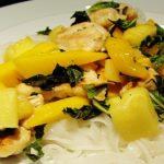 Turkey and mango stir fry on a plate