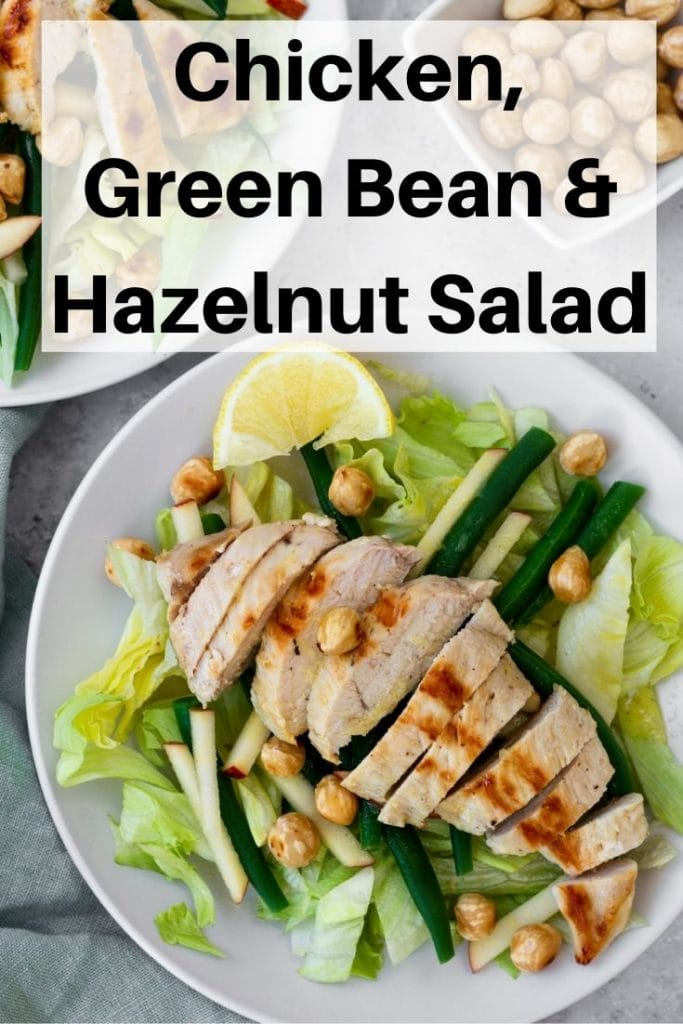 Chicken hazelnut salad pin image
