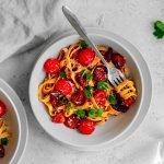 Chorizo garlic sun dried tomato pasta in a bowl