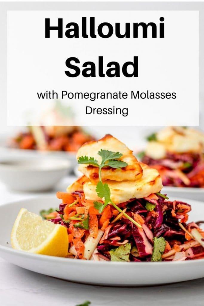 Pomegranate molasses halloumi salad pin image
