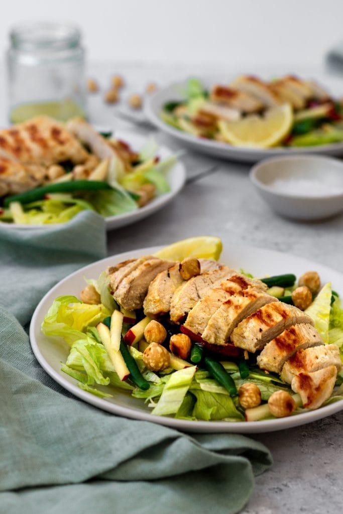 chicken green bean and hazelnut salad