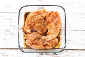 Turkey marinating for Mediterranean turkey bake