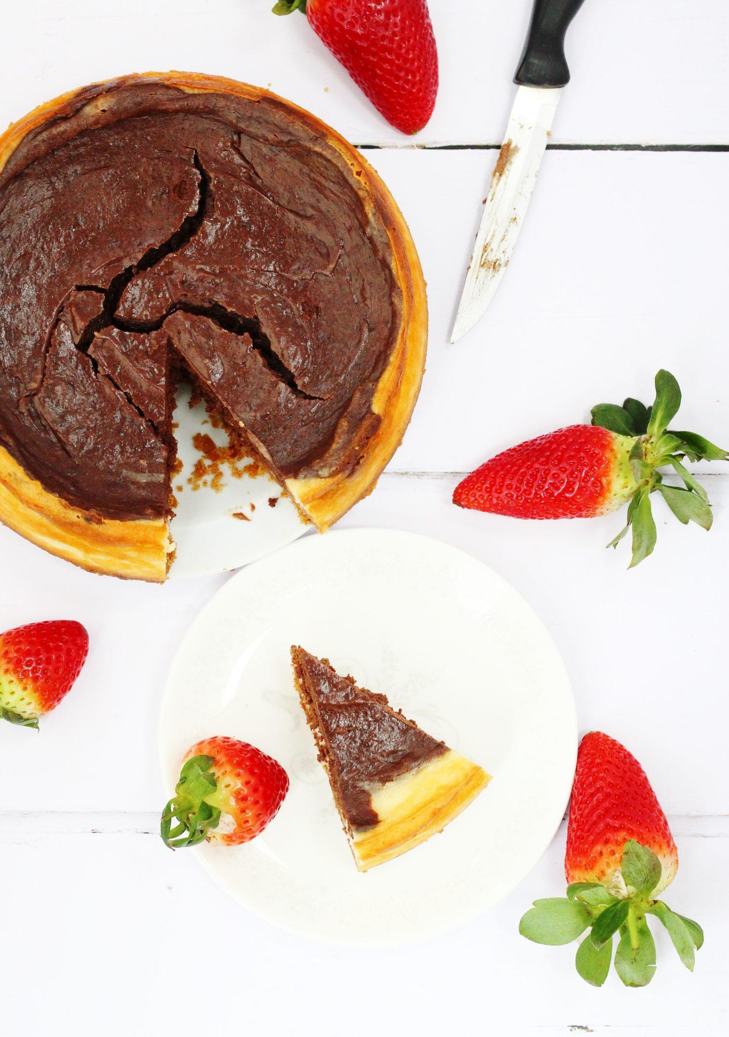 Mary Berry's American Style Chocolate cheesecake. Baked vanilla and chocolate cheesecake