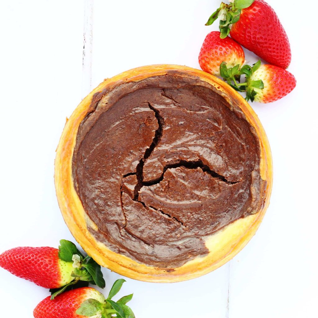 Mary Berry's American Style Chocolate cheesecake. Baked vanilla and chocolate cheesecake