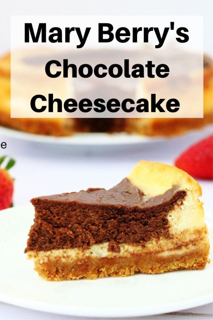 Mary Berry's American style chocolate baked cheesecake pin image
