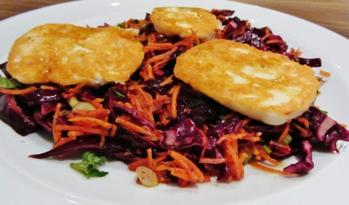 Halloumi and pomegranate molasses salad