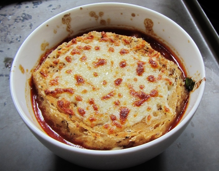 pizza soup in a bowl
