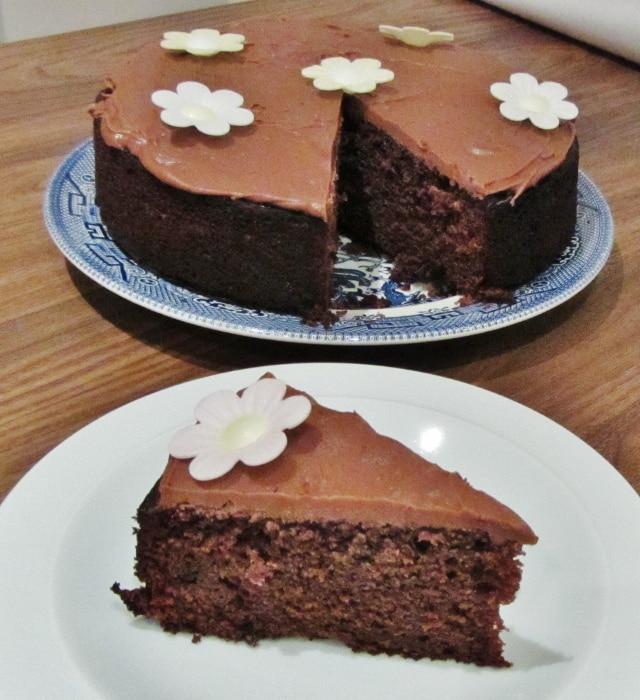 rich moist chocolate cake slice & whole (640x700)