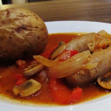 Schwartz sausage casserole with baked potato