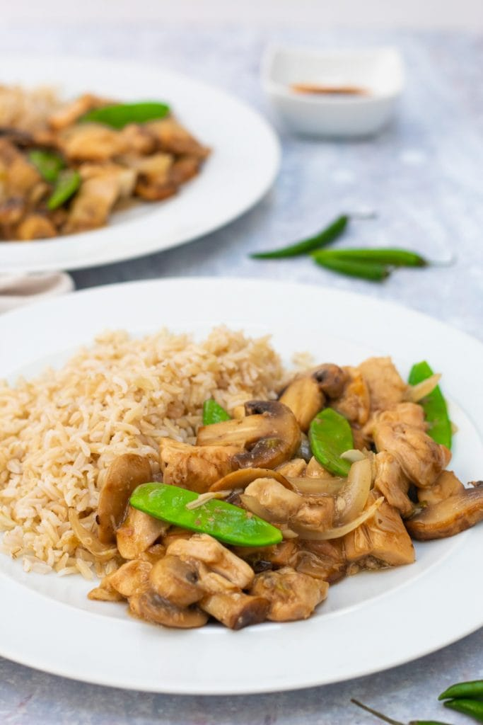 plates of Chinese chicken stew with rice