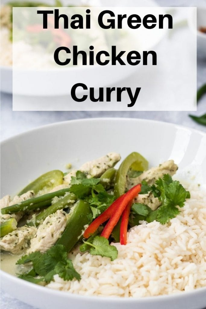 Thai Green chicken curry pin image