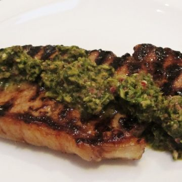 honey lime steak with chimichurri sauce