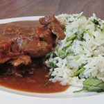 Mexican beef stew with coriander rice