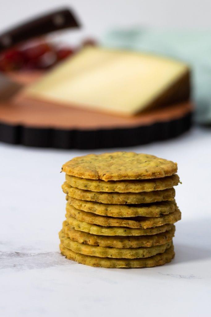 stack of basil and parmesan thins