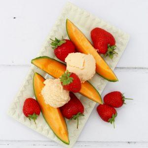 Cantaloupe melon frozen yoghurt