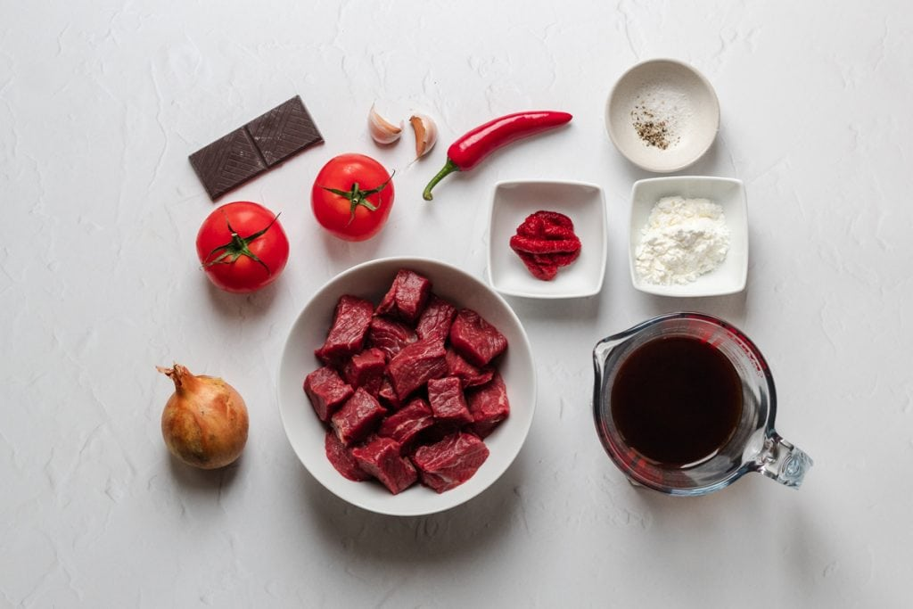 Ingredients for slow cooker Mexican beef stew