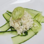 cucumber topped with crab salad and avocado sorbet