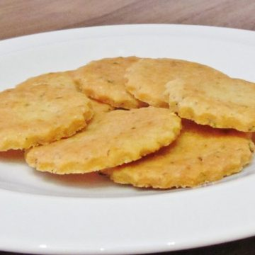 Plate of basil and parmesan thins