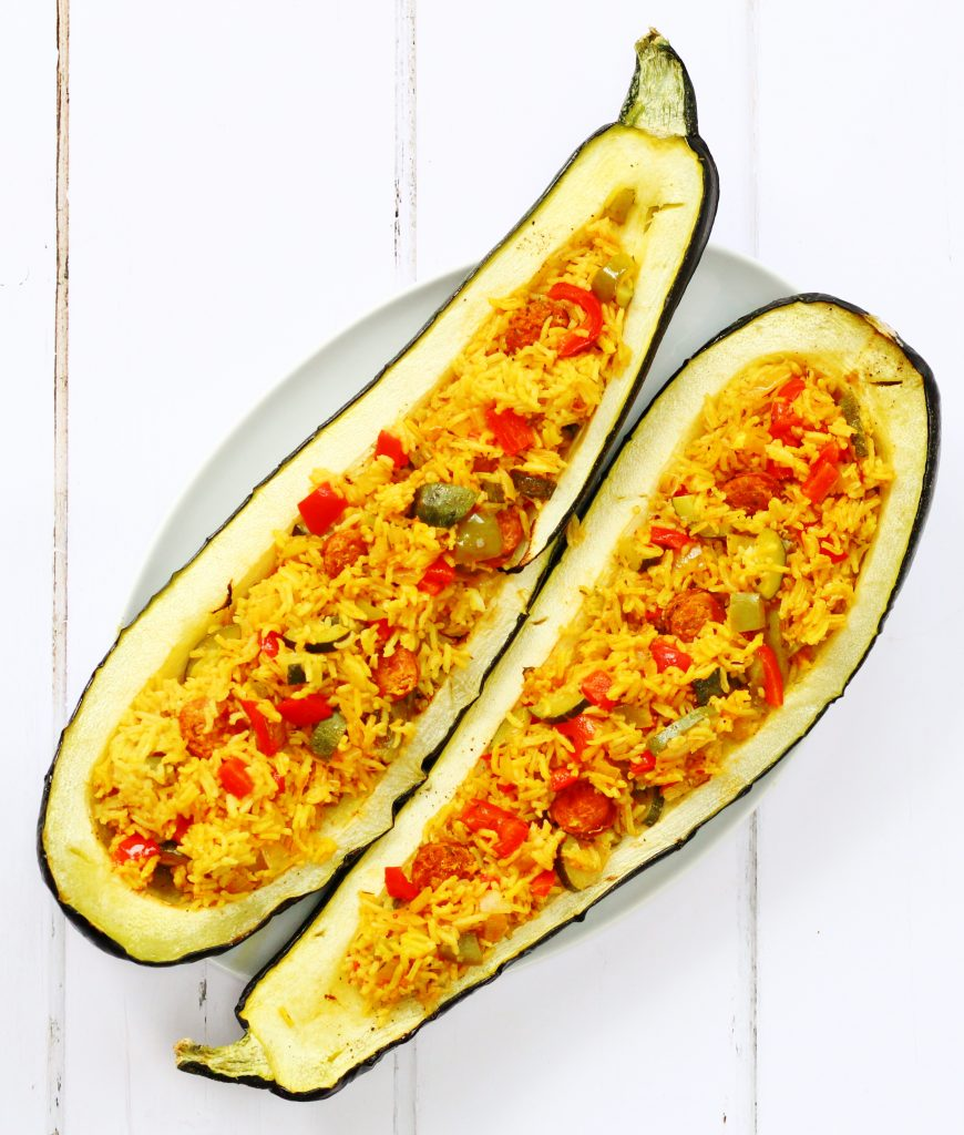 Spanish rice stuffed marrow, also known as over grown zucchini