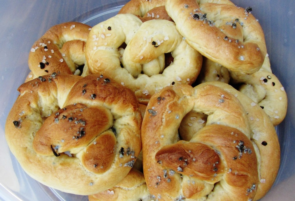 traditional soft pretzels in container